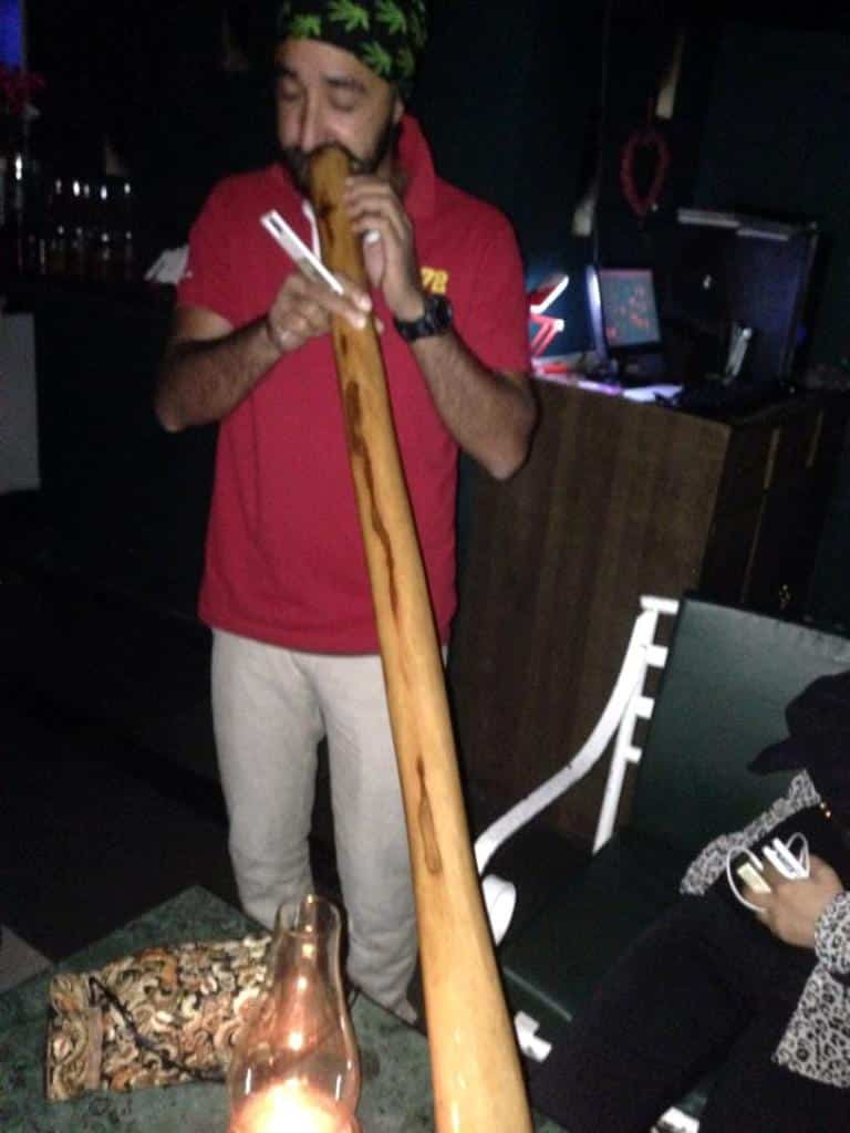 Bob from Delhi is playing Didgeridoo at Hangout